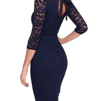 Navy Blue Floral Lace Tie Back 3/4 Sleeve Elegant Midi Dress