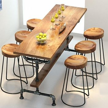 The village of retro furniture,Vintage metal bar table,anti rust treatment,bar stool,100% wooden & metal table,bar furniture set