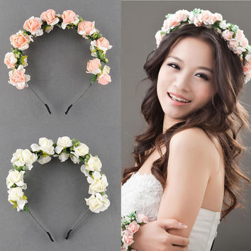 Stylish Women Girls Floral Headband Bohemia Hair Band Flower Garland Wedding Prom Head wrap Hair Accessories Gift 2016 Fashion