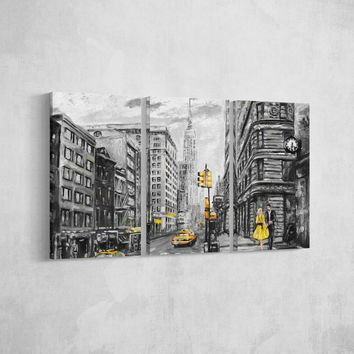 Empire Black and Yellow Abstract Canvas Set