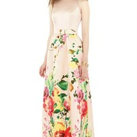 Alfred Sung Watercolor Floral Print Sleeveless Sateen A-Line Gown | Nordstrom