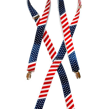 American Flag Stars and Stripes Suspenders