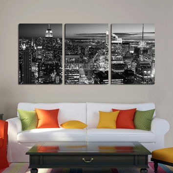 Large Wall Art NEW YORK Canvas Prints - New York City Skyline at Dusk with Skyscrapers (Black and White)