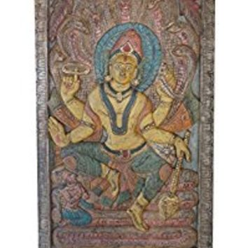 Vintage Hand Carved Protector Vishnu Carving spiritual Wall Sculpture, Eclectic Interior