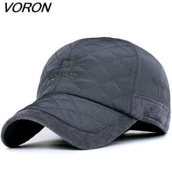 Trendy Winter Jacket VORON 2017 Warm Winter Baseball Cap Men Brand Snapback Black Solid Bone Baseball Mens Winter Hats Ear Flaps AT_92_12