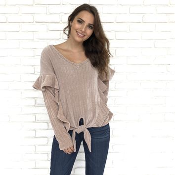 Fall In Love Blush Pink Ruffle Sweater
