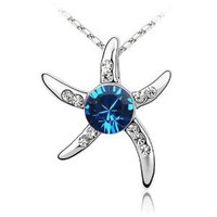 KATGI HORIZON BLUE Star Fish Austrian Crystal Pendant Necklace