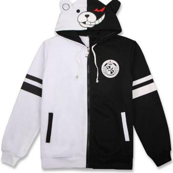 Anime Danganronpa Trigger Happy Havoc Monokuma Hooded Zipper Hoodie Cosplay Costume