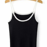 Trendy Hit Color Spaghetti Strap Knitted Tank Top For Women