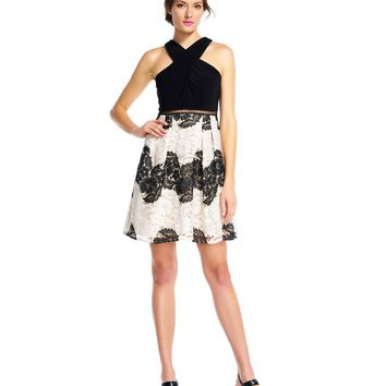 Adrianna Papell - Crossed Neck Lace A-line Dress AP1E201113