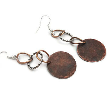 Cool Hammered Copper Earrings, Rustic Jewelry, Handmade, Gift for Her