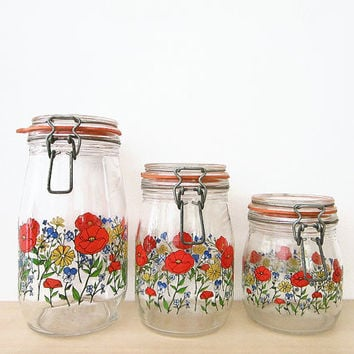 vintage bright floral canister set arc of france glass by hemlines