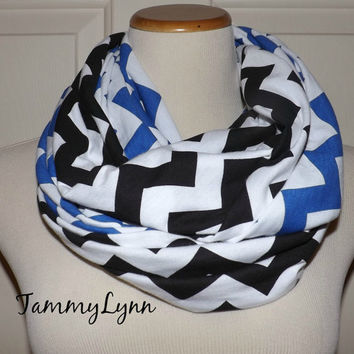 Royal Blue & Black and White Chevron School Spirit 2 Pair Team CAROLINA PANTHERS Jersey Knit Infinity Scarves Game Day Team