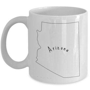 50 states series - Arizona outline - coffee / hot chocolate / tea mug - 11 oz ceramic cup
