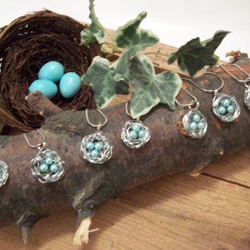 Bird Nest Jewelry, Necklace, Silvertone Wire, Robin Egg Blue,  Glass Beads, Motherday Gifts, Gifts For Women,  Treasury Item