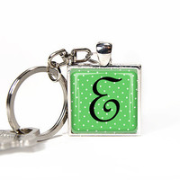 Personalized key chain neon green alphabet letter, monogram keychain white polka dots, key ring, key fob. Rusteam