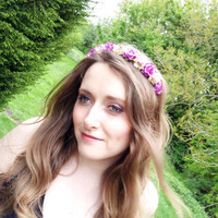 Floral crown flower crown rose crown headband wreath with roses festival - 'English Beauty'