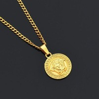 ESBONQ Boys & Men Versace Chain Medusa Alloy Necklace