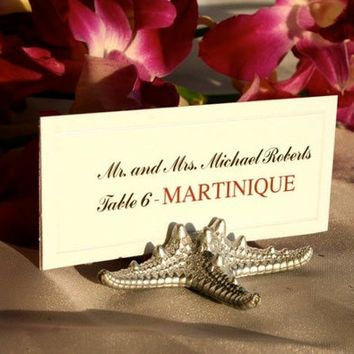Beach Wedding Place Card Holder, SMALL Silver Starfish Place Card Holders (Set of 25)