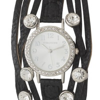 black faux leather band watch with rhinestone studs