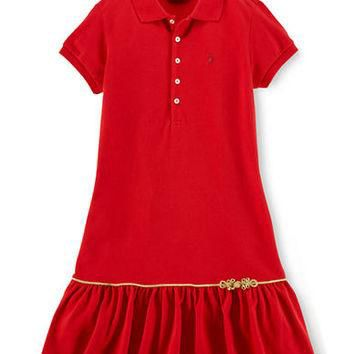 Ralph Lauren Childrenswear Girls 7-16 Cotton Polo Dress