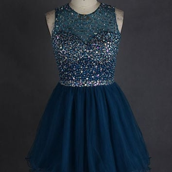 Homecoming Dress, Sparkly Crystal Homecoming Dress, Cute Party Dress