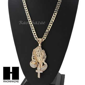 ICED OUT L PRAYING HANDS PENDANT & DIAMOND CUT CUBAN LINK CHAIN NECKLACE NN53