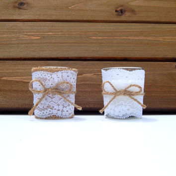Rustic Wedding Decor - Rustic Wedding Favors - Country Wedding - Rustic Table Decor - Barn Wedding - Burlap and Lace Wedding