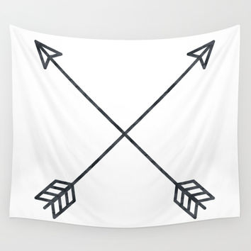 Black Arrows on White Paper Wall Tapestry by naturemagick | Society6