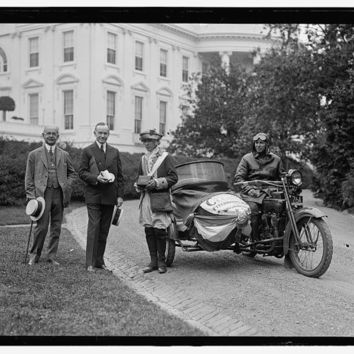 c.1924 President Coolidge Motorcycle Sidecar White House-Antique-Old-Vintage Reproduction Photograph/Photo/Poster: Gicclee Print. Frame it!