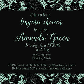 PRINTABLE classy lingerie bridal shower invitation - Bride and Co pool blue