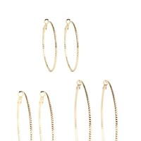 Set of 6 Earrings with 3 Hoops and 3 Studs