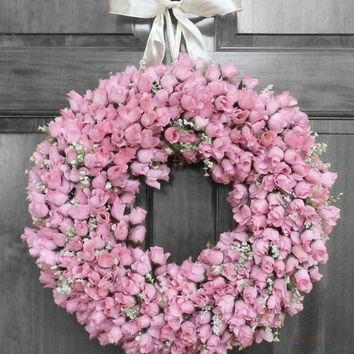 Pink Rose Wreath - Summer Wreath - Spring Wreath - Housewarming Gift - Birthday Gift - Front Door Wreath - Front Door Decorations - Gift
