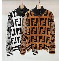FENDI New Popular Classic Autumn Winter Personality Mohair F Jacquard Half High Collar Zipper Cardigan Coat  Jacket Women