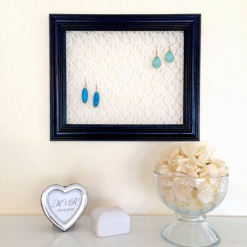 Earring Holder, Black Frame with Lace