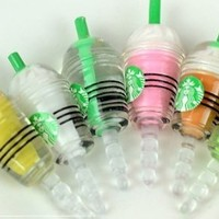 KABB 6 pcs (whole set) StarBucks Frappuccino, Milk Cell Phone Charm 3.5mm Anti Dust Earphone Jack Plug iphone 4 4S