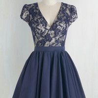 Mid-length Cap Sleeves Fit & Flare Elegance Awaits Dress by Chi Chi London from ModCloth