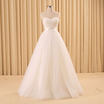 Pleated Sweetheart Empire Waistline Ball Gown Wedding Dress with Ribbon Sash Lace-up Bridal Gown