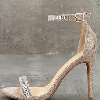 Melodie Rose Gold Ankle Strap Heels