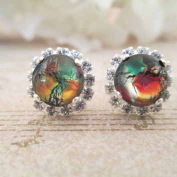 Black opal  halo crystal earrings, Rare, vintage, 8mm, studs, post, halo, elegant, unique,