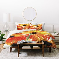 Shannon Clark Orange Daisies Duvet Cover