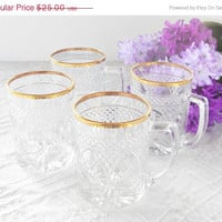 On Sale Set of 4 Luminarc Clear Cut Glass Ice Tea or Coffee Mugs, Barware, Glassware, Vintage, Hollywood Regency