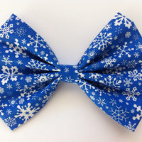 Blue Winter Hair Bow