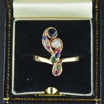 Vintage 14k Gold Diamond Sapphire Feather RIng 1900s