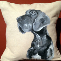 Dog Painting- Gray Great Dane Painted Pillow Decoration