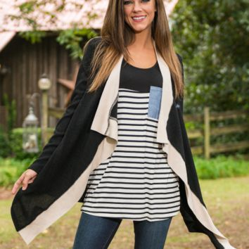 Black Long Sleeve Long Knit Cardigan