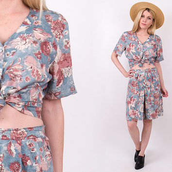 90's floral 2 piece outfit shorts + matching blouse Vtg 1980s grunge revival boho bermuda skirt