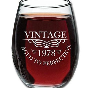 1978 40th Birthday 15oz Stemless Wine Glass for Women and Men ndash Unique Vintage 40th Anniversary Gifts for Him Her Husband or Wife ndash Funny Party Decorations or Supplies Present for Mom and Dad