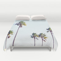 Fort De Soto Palms 2 - Duvet Cover, Light Blue & Green Palm Trees Bedding, Boho Chic Coastal Bed Blanket Throw Cover in Twin Full Queen King