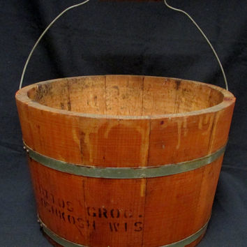 Primitive Wooden Bucket Ottos Grocery Osh Kosh Wisconsin Vintage Wood Stave Advertising Pail Wire Bail Handle
